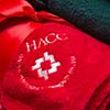 Logo on red towel